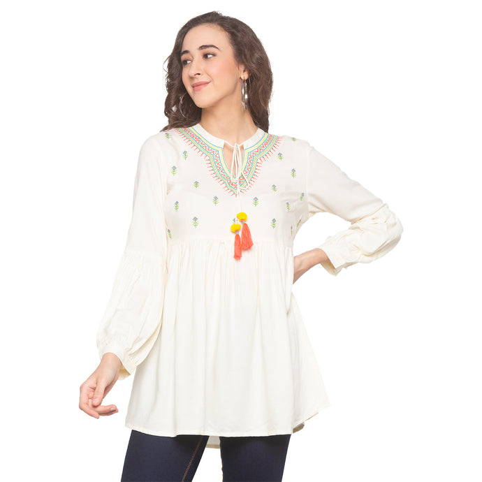 White Embroidered Top-1