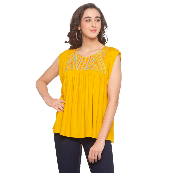 Mustard Embroidered Top-1
