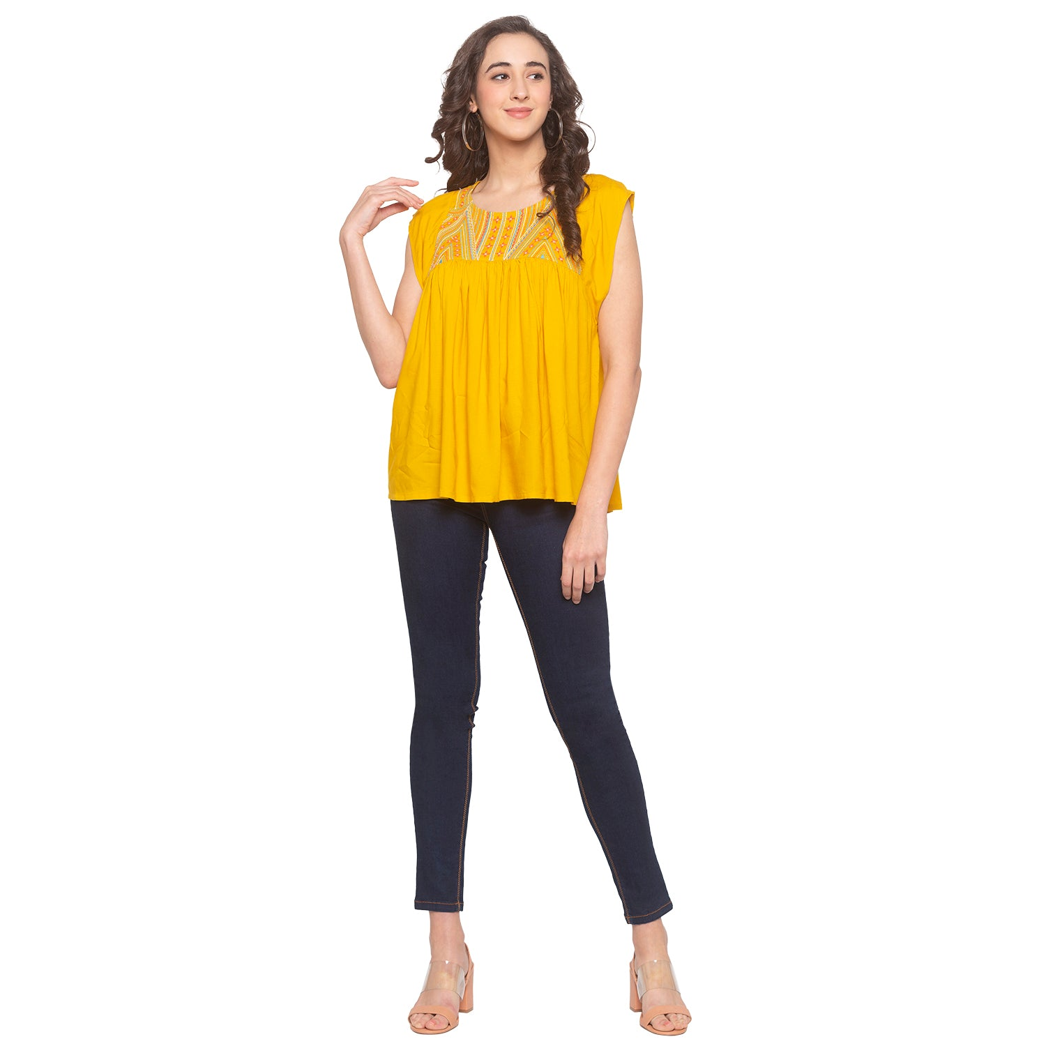 Mustard Embroidered Top-4
