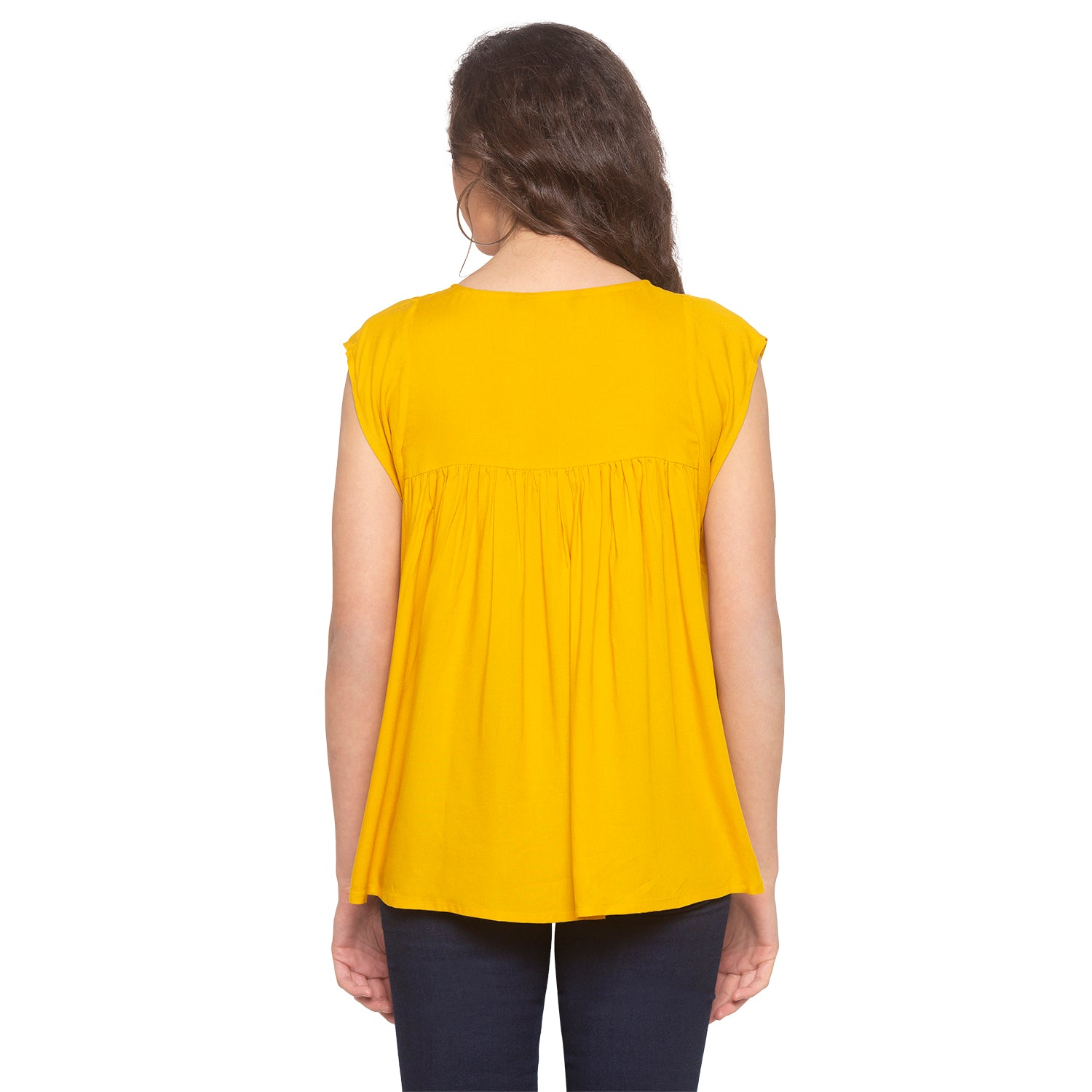 Mustard Embroidered Top-3