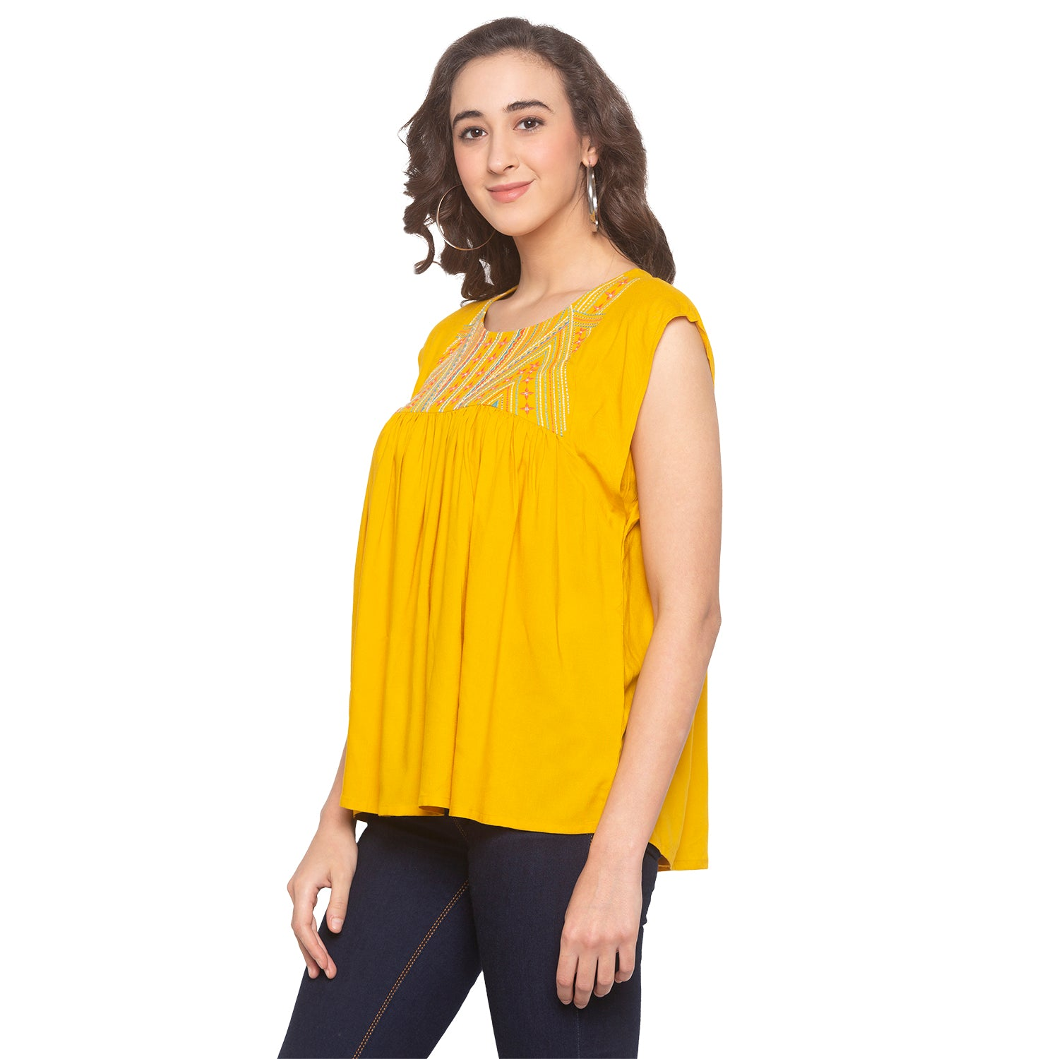 Mustard Embroidered Top-2