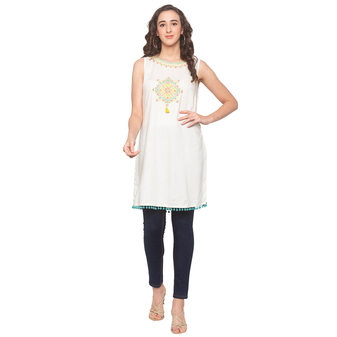 Off White Embroidered Tunic-1