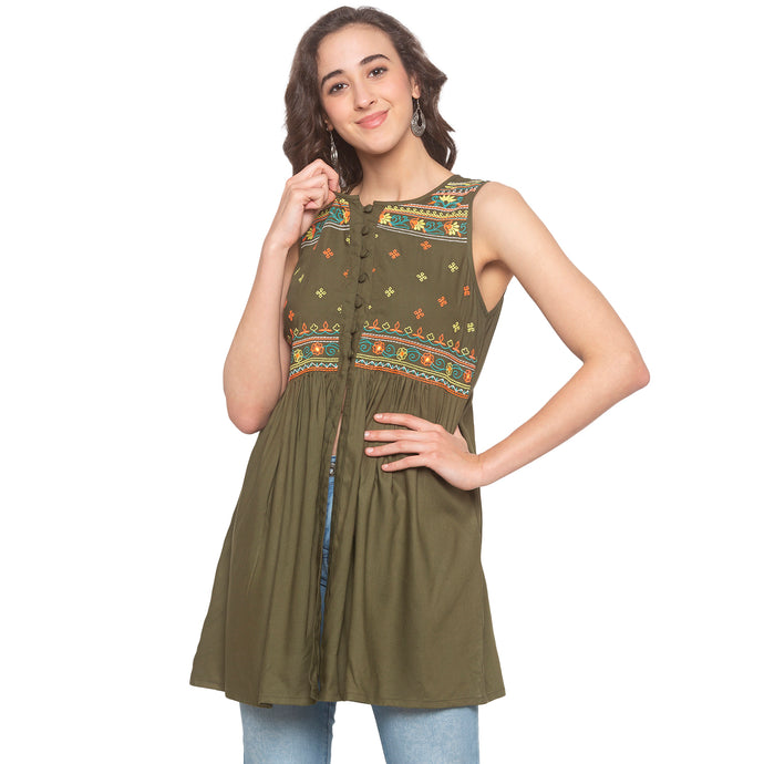 Olive Embroidered Tunic-1