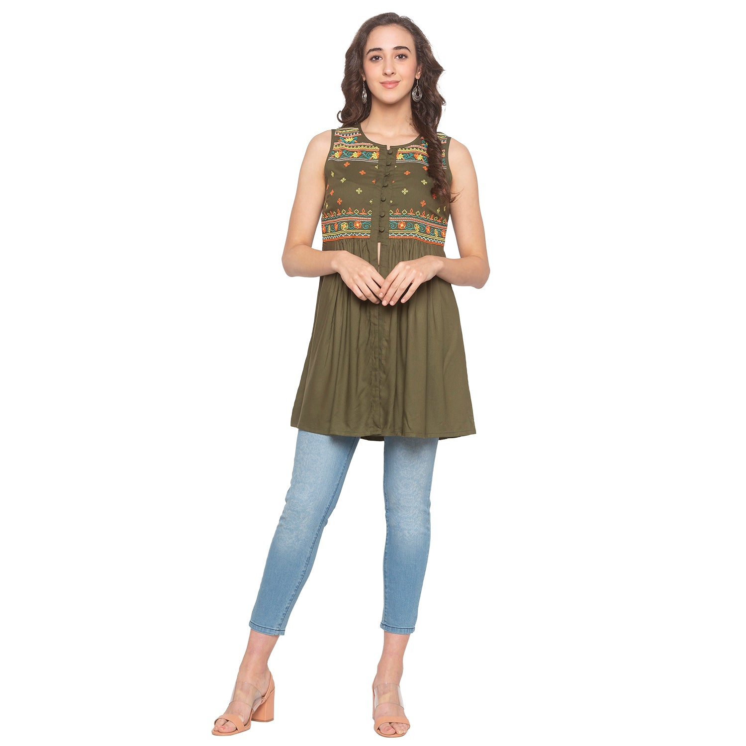 Olive Embroidered Tunic-4