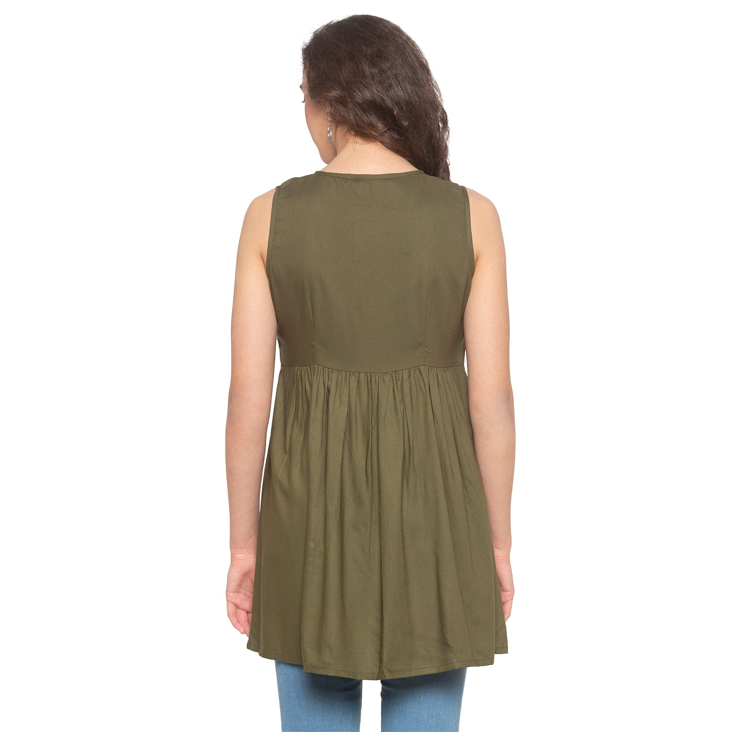 Olive Embroidered Tunic-3