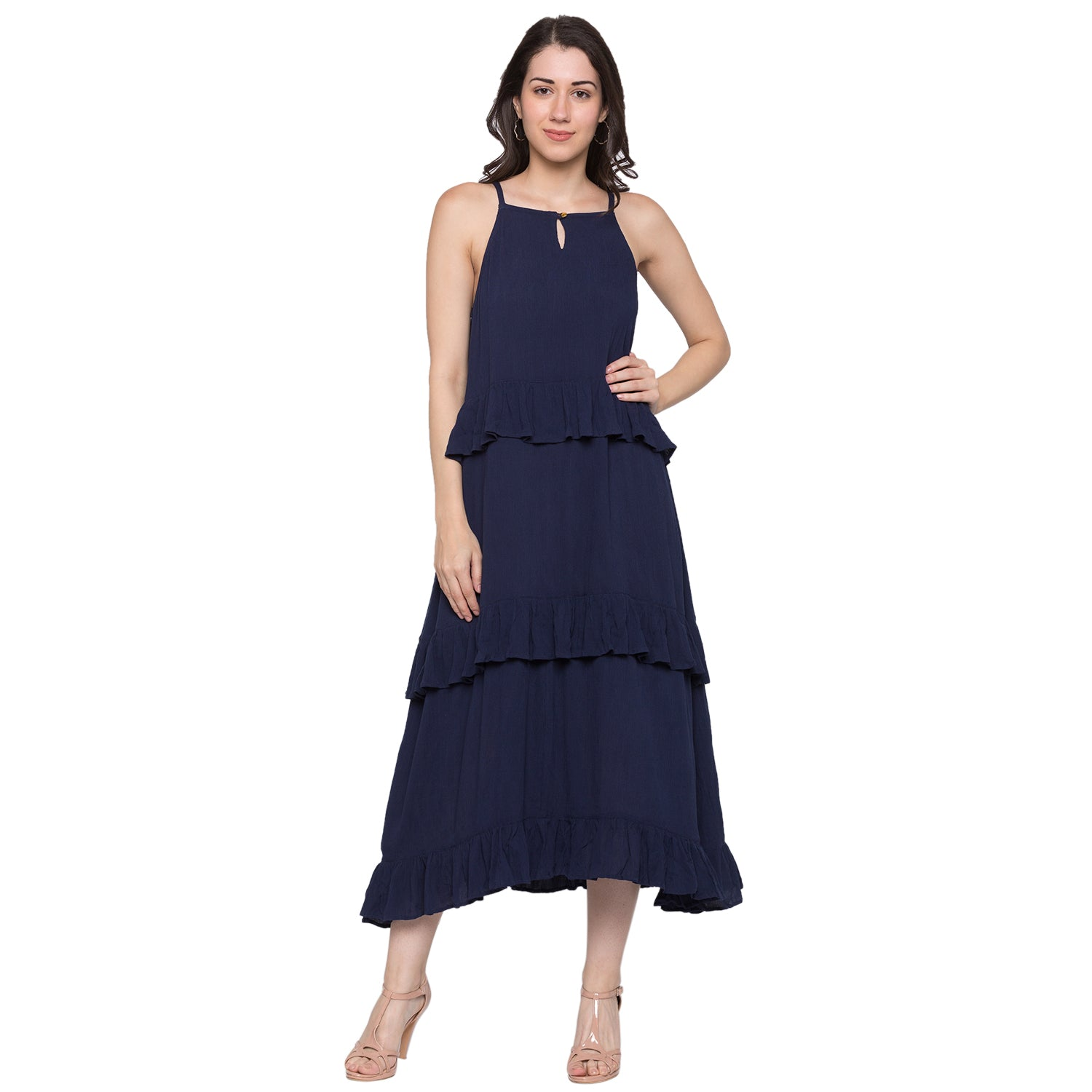 Globus Navy Blue Solid Dress-1