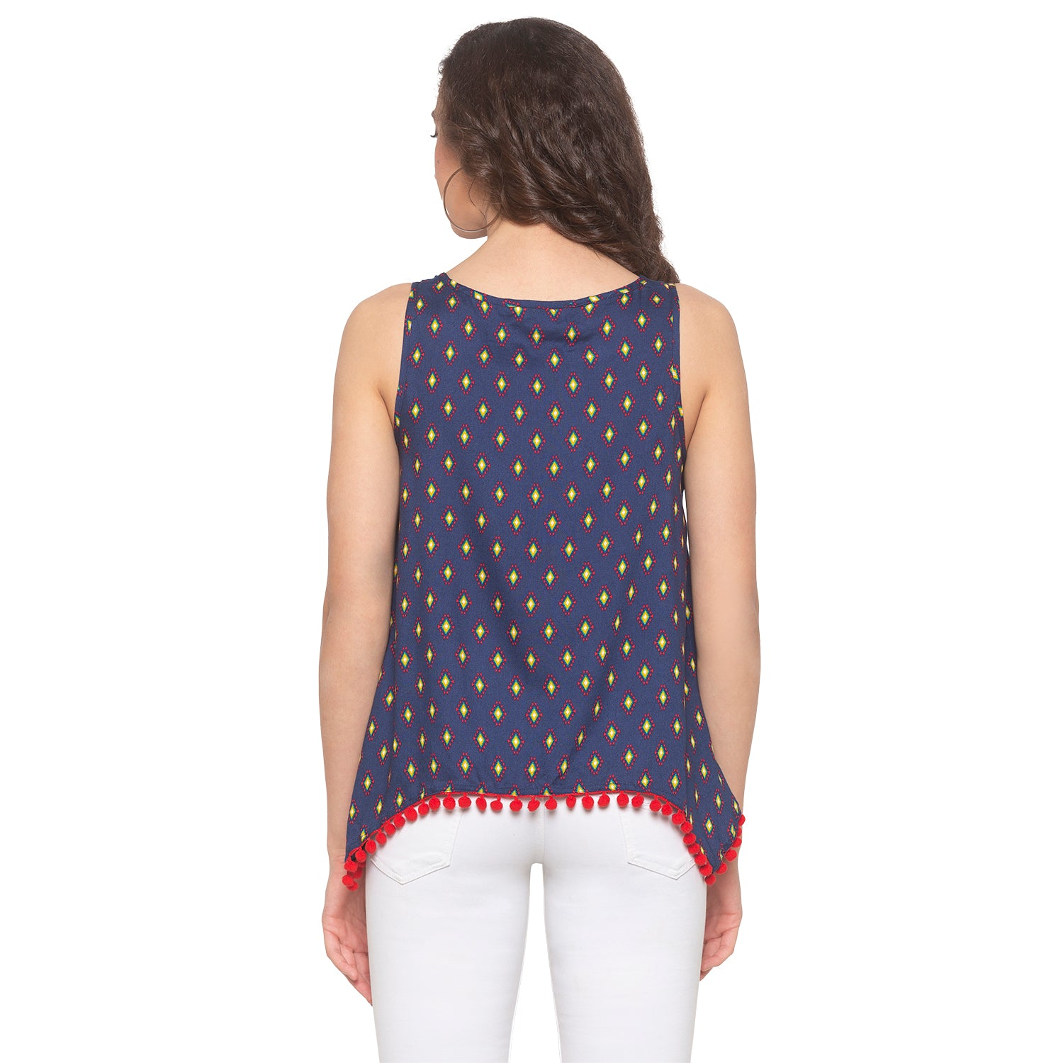 Navy Blue Printed Top-3