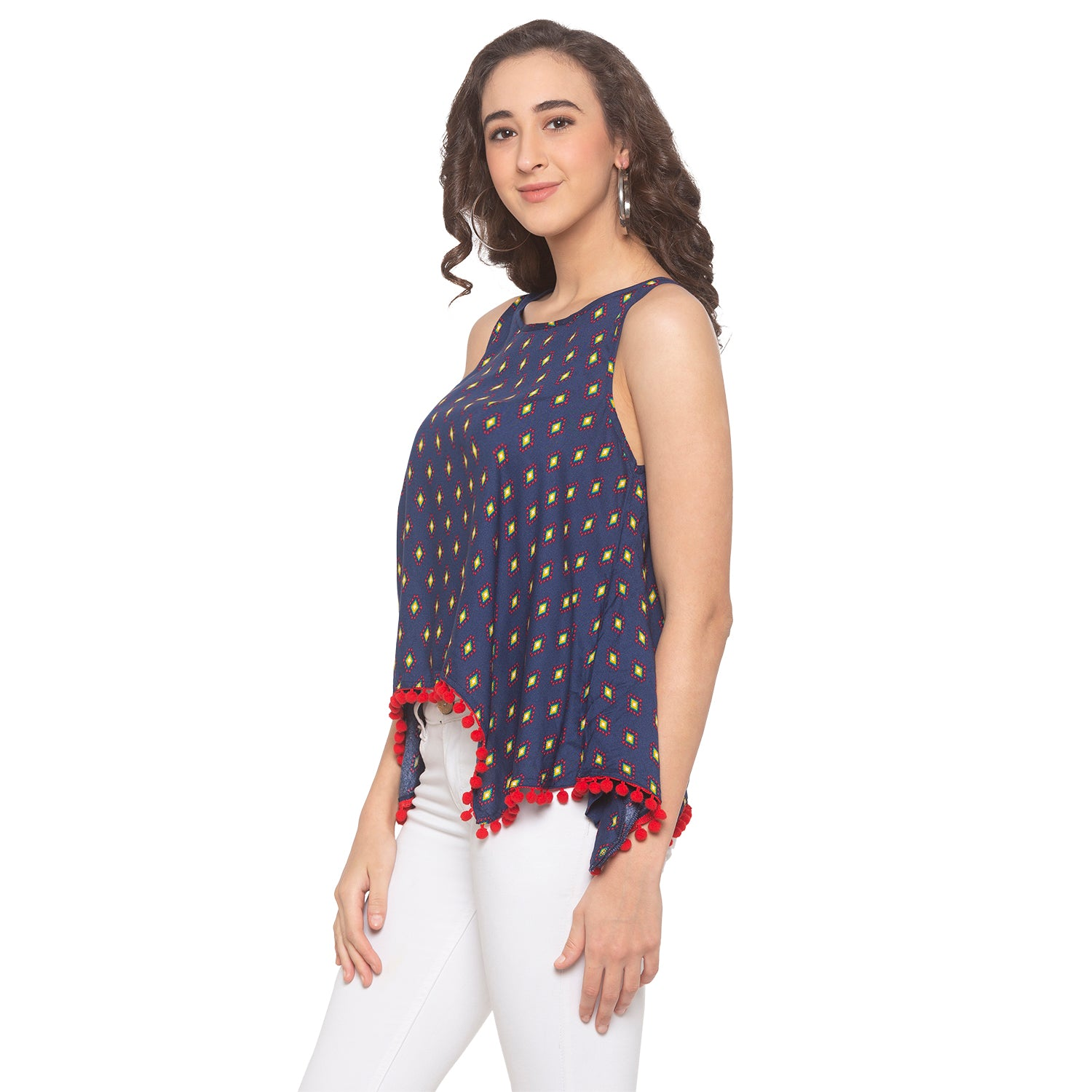 Navy Blue Printed Top-2
