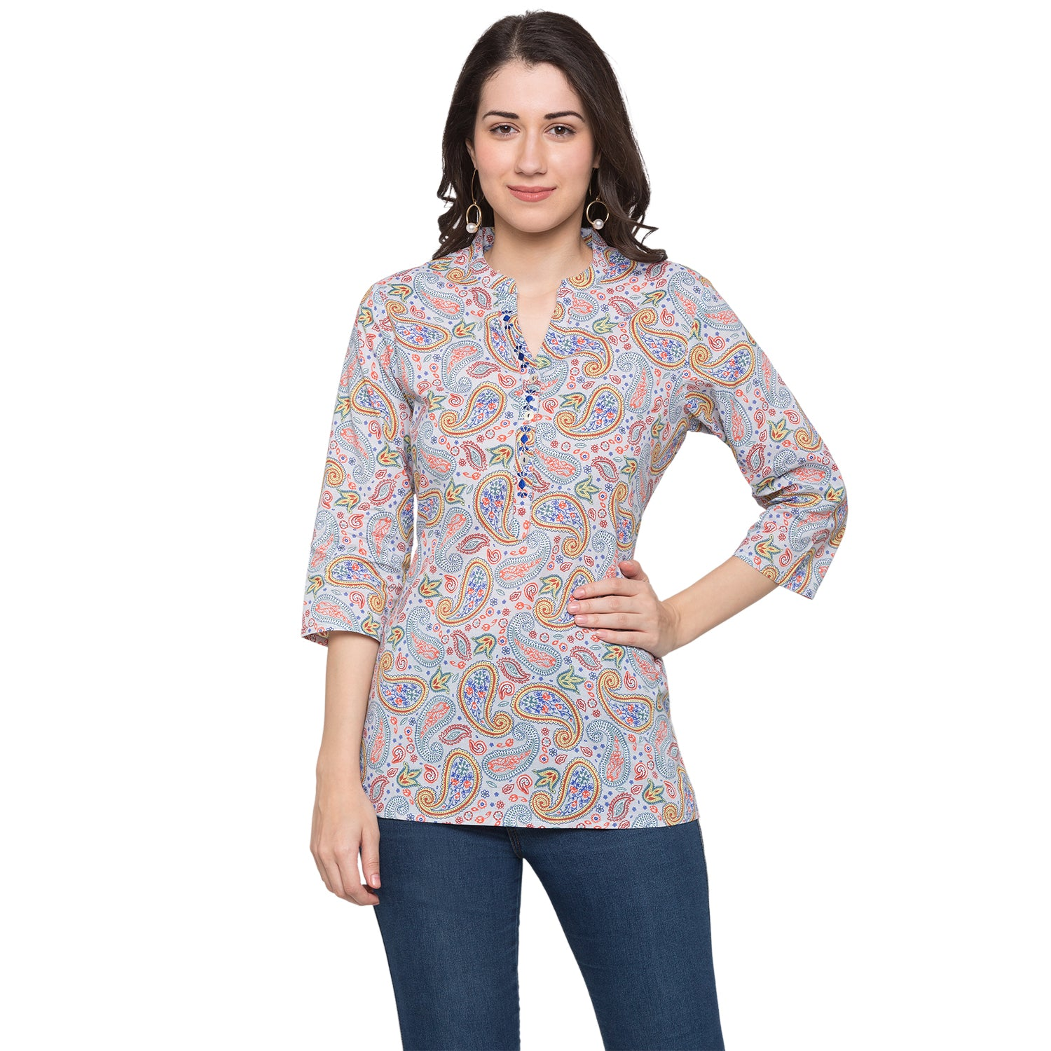 Globus Blue Printed Top-1