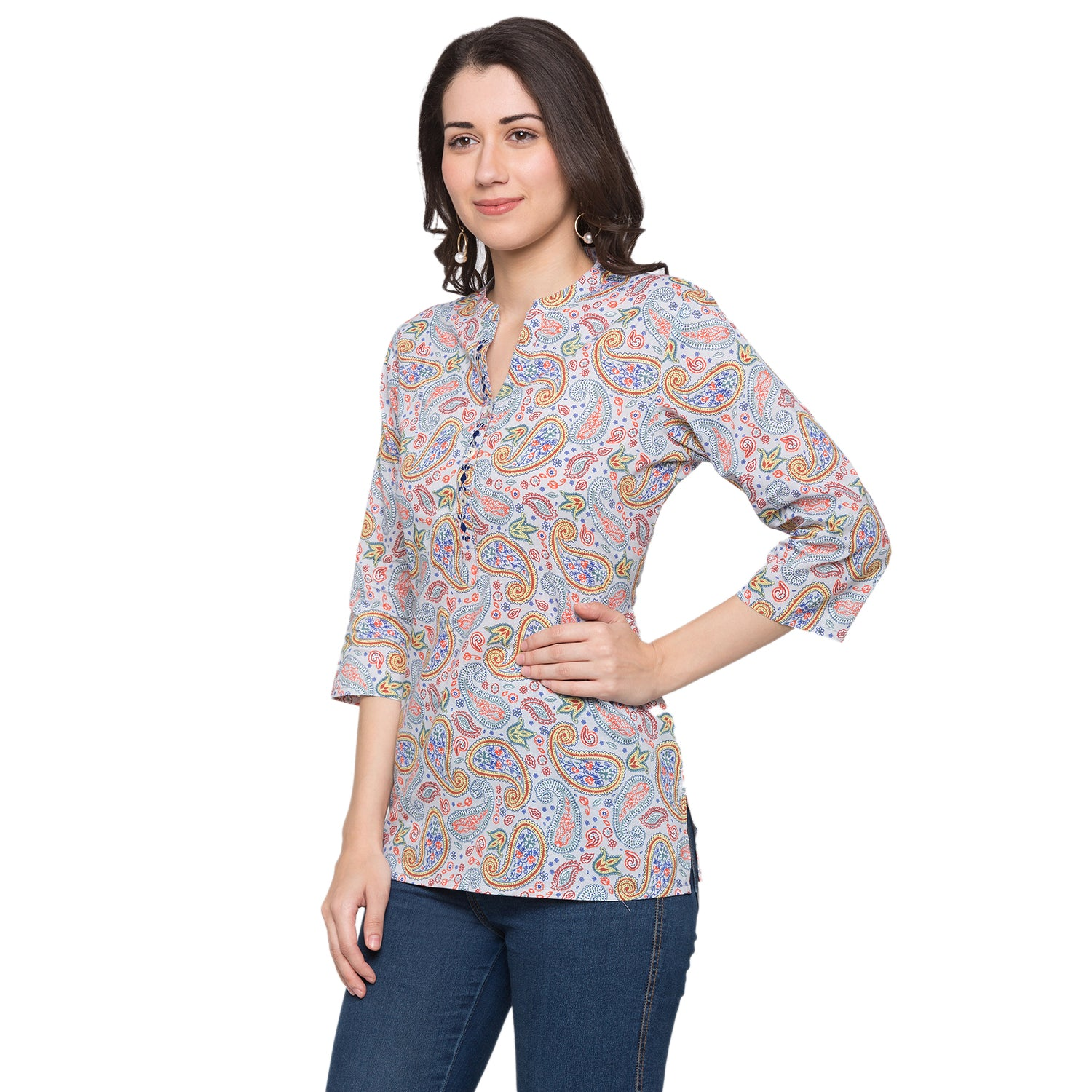 Globus Blue Printed Top-2