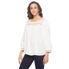 Load image into Gallery viewer, White Embroidered Top-2