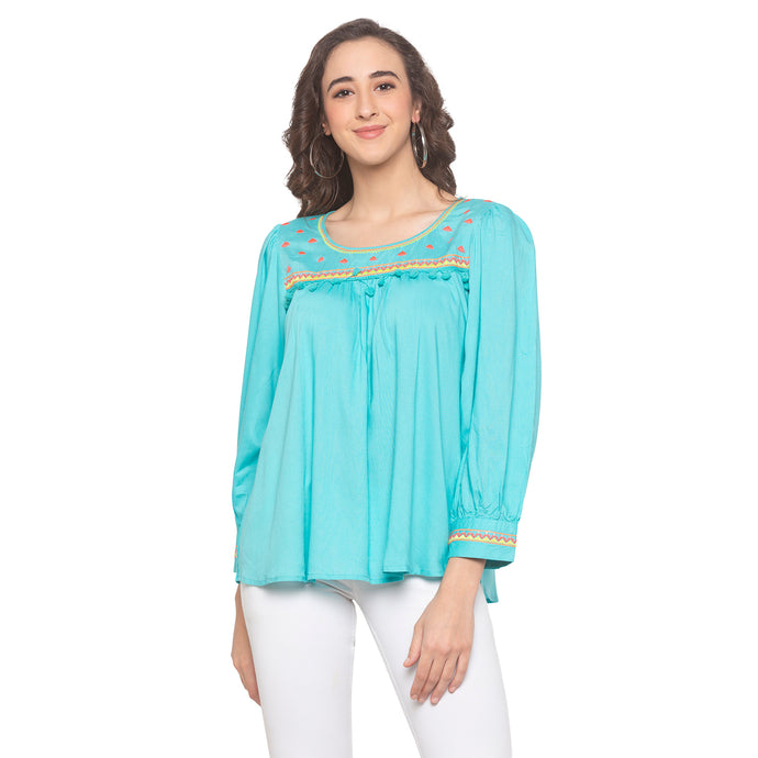 Turquoise Blue Embroidered Top-1