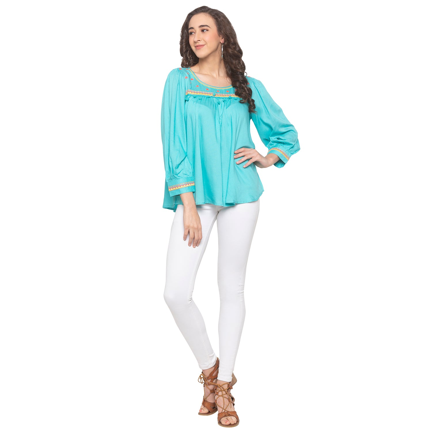 Turquoise Blue Embroidered Top-4