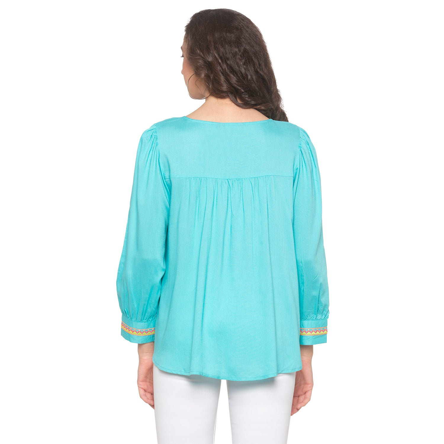 Turquoise Blue Embroidered Top-3