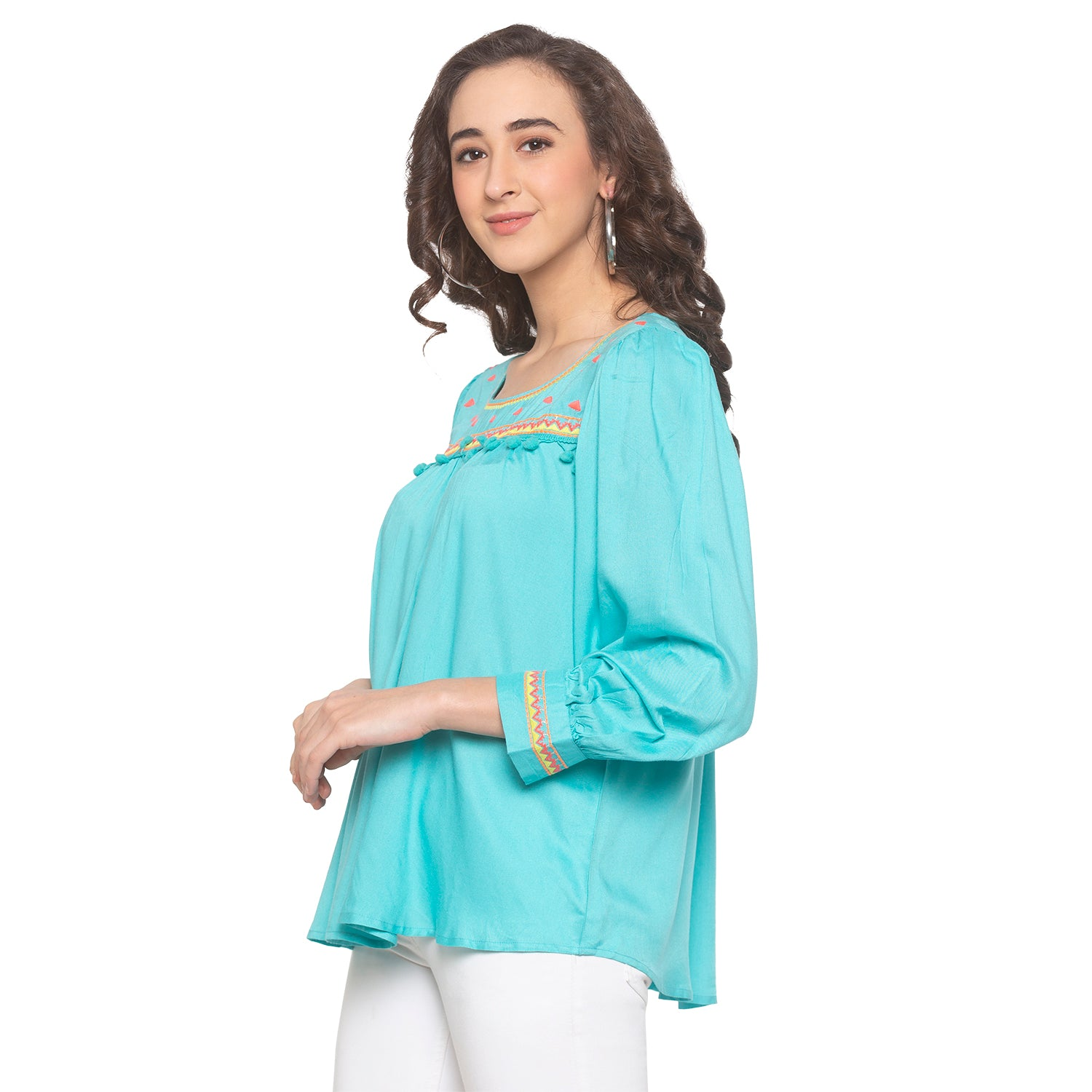 Turquoise Blue Embroidered Top-2