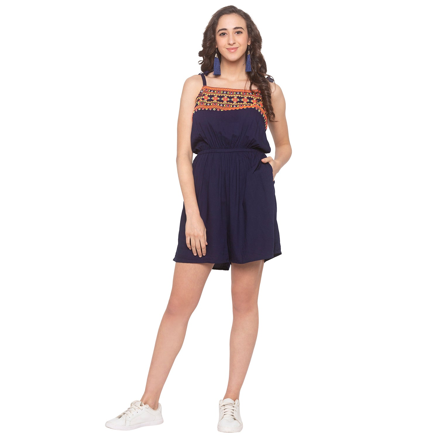 Navy Blue Embroidered Jumpsuit-1