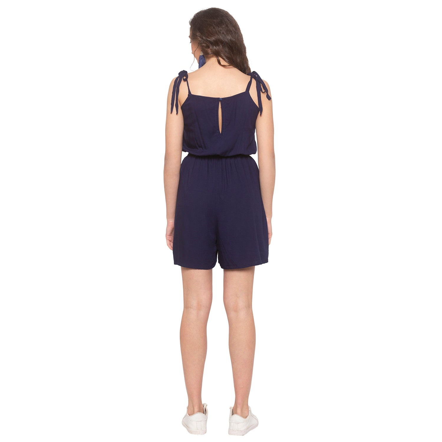 Navy Blue Embroidered Jumpsuit-3
