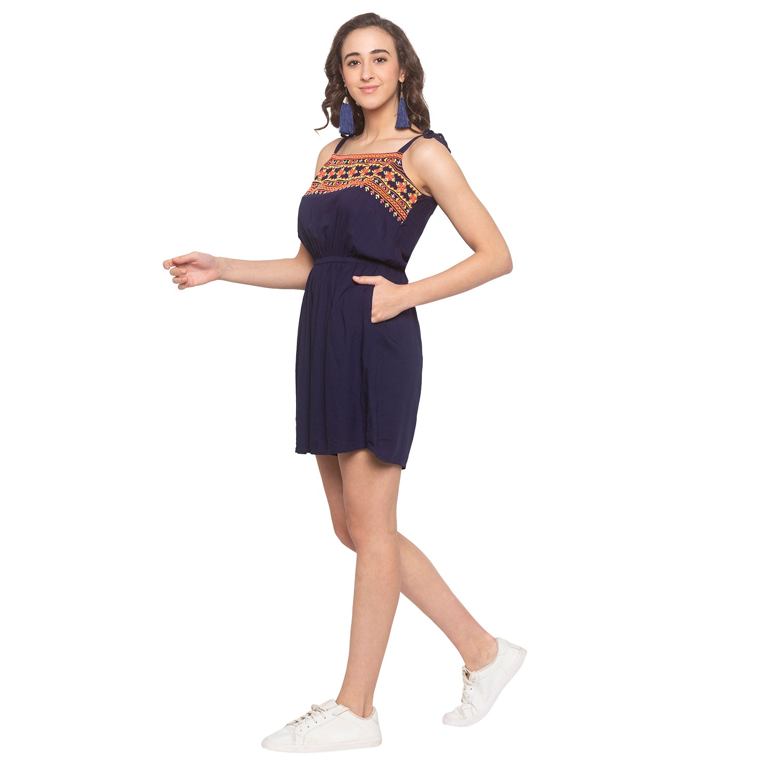 Navy Blue Embroidered Jumpsuit-2