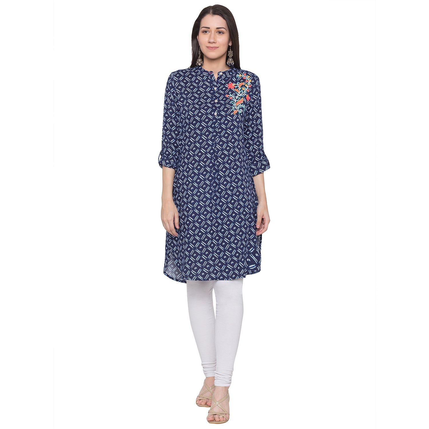 Globus Blue Embroidered Kurta-1
