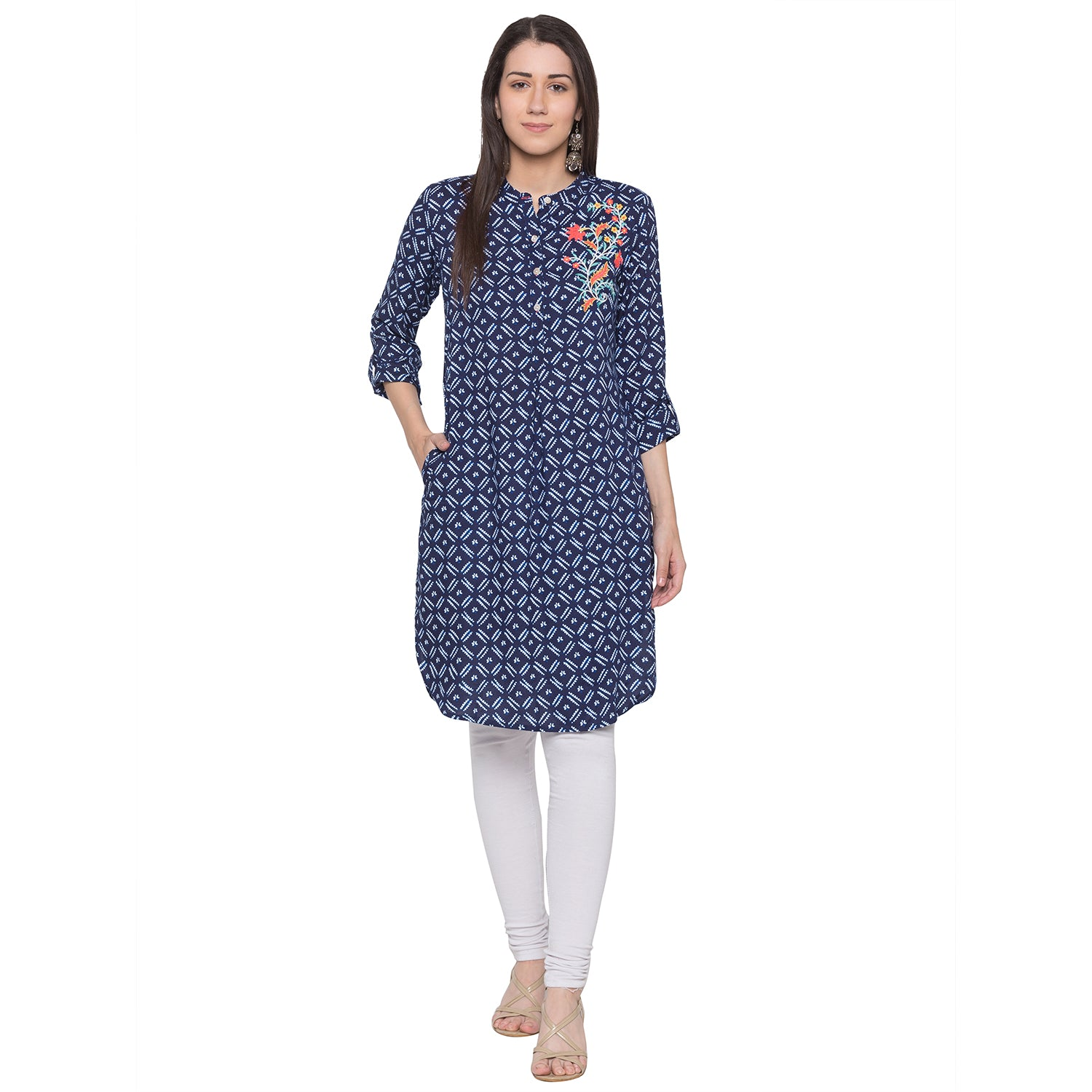 Globus Blue Embroidered Kurta-4