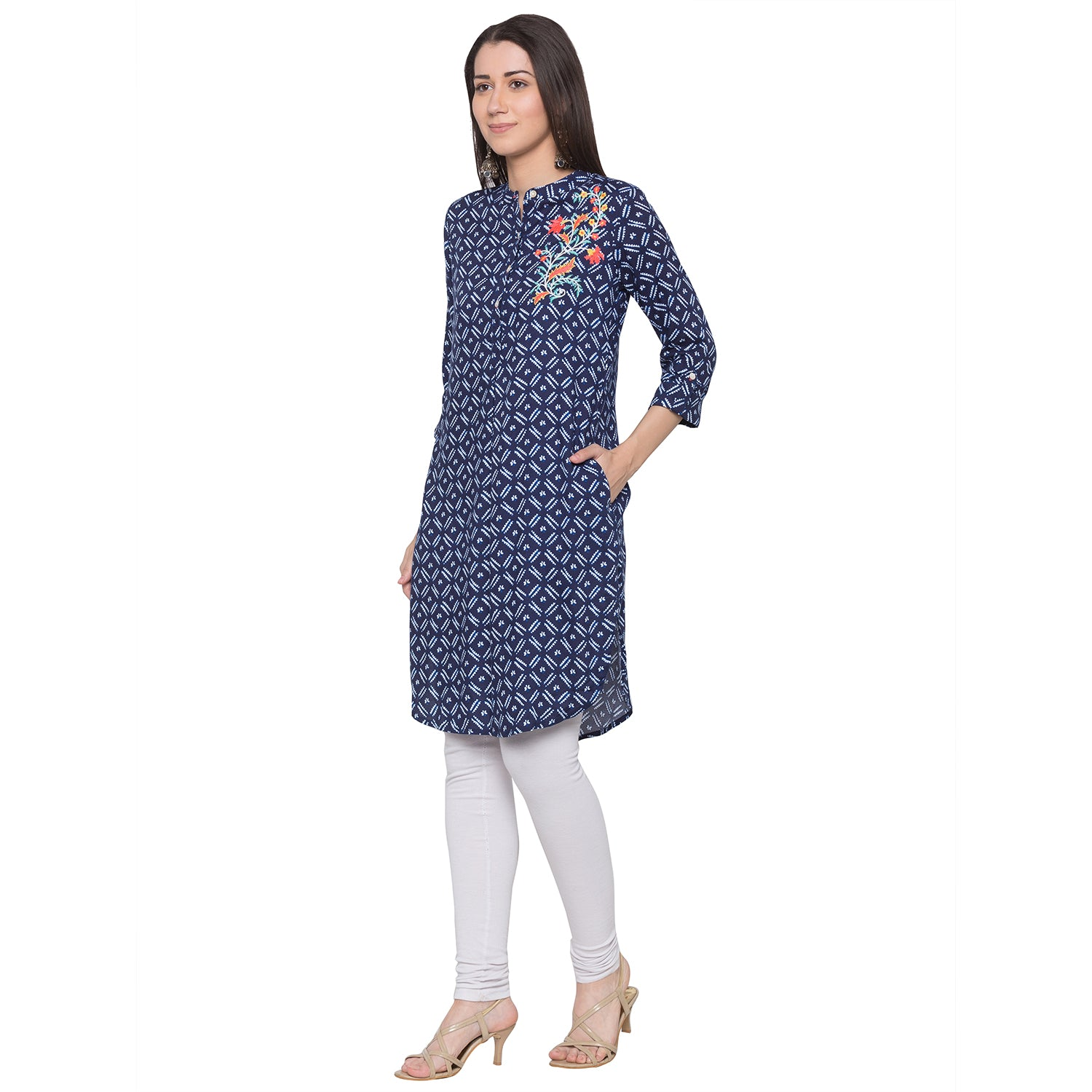 Globus Blue Embroidered Kurta-2