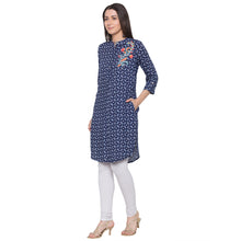 Load image into Gallery viewer, Globus Blue Embroidered Kurta-2