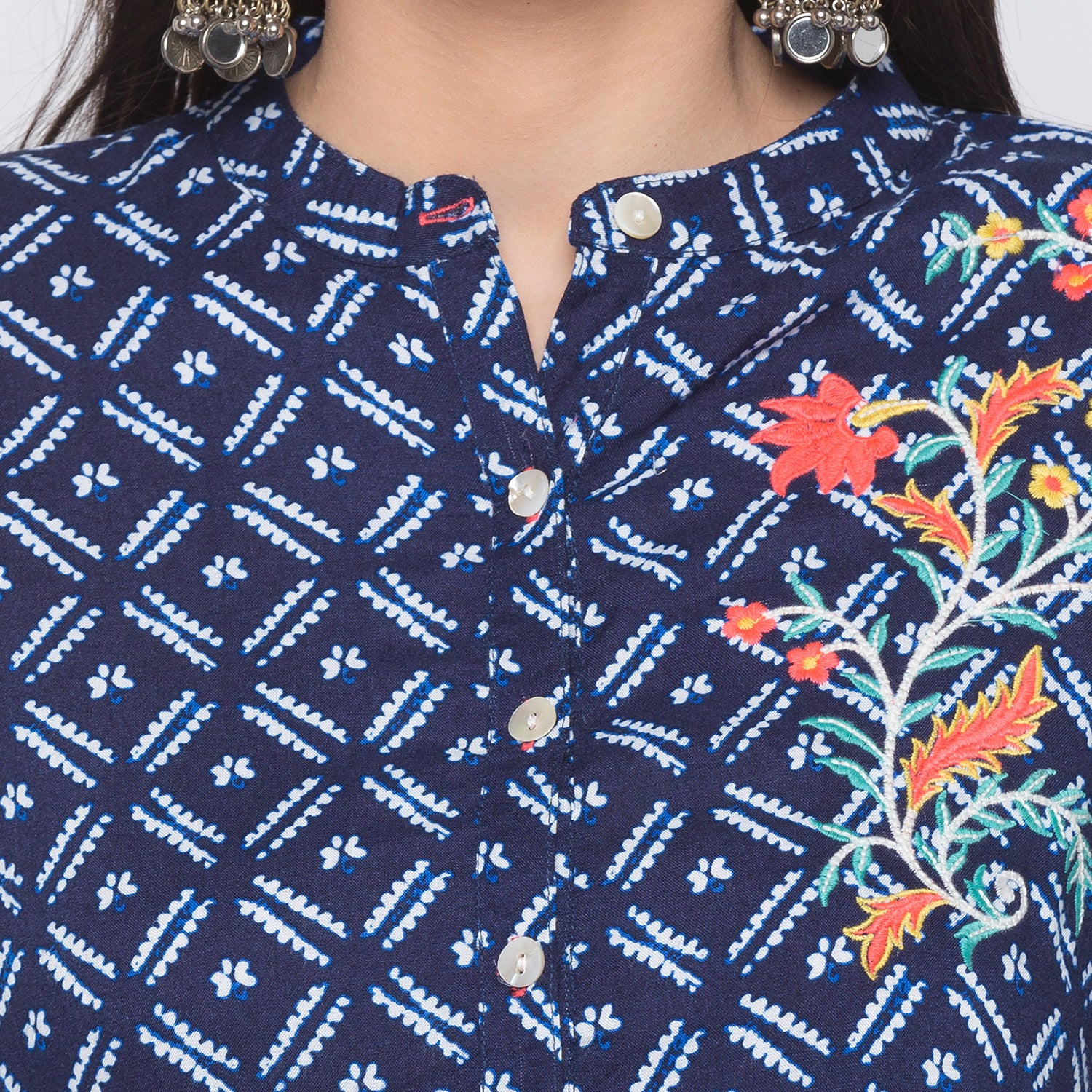 Globus Blue Embroidered Kurta-5