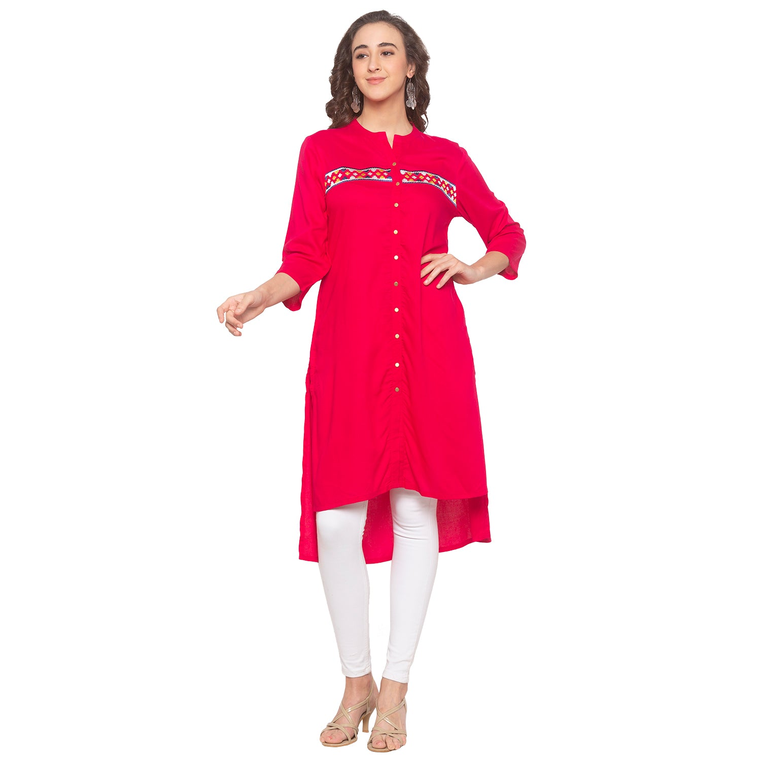 Pink Embroidered Kurta-4