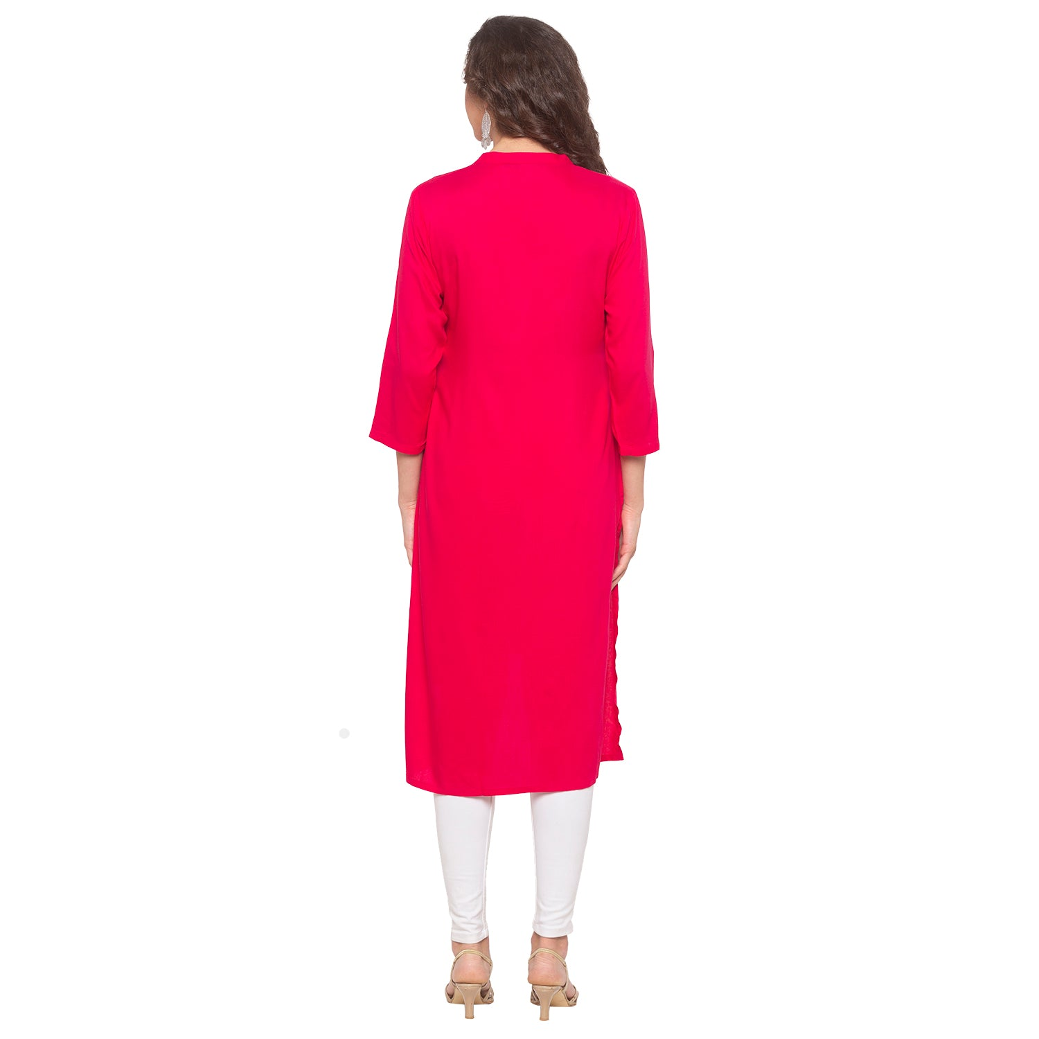 Pink Embroidered Kurta-3