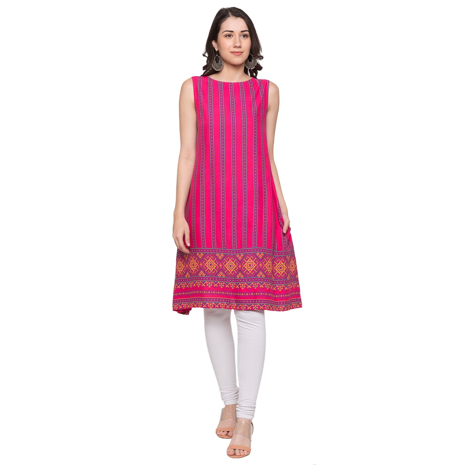 Globus Pink Striped Kurta-1