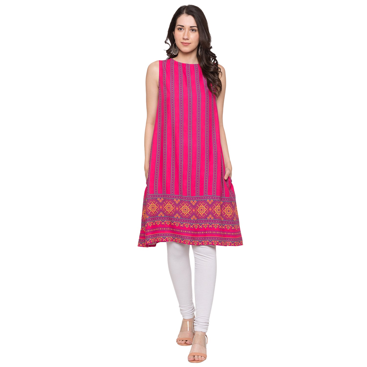 Globus Pink Striped Kurta-4