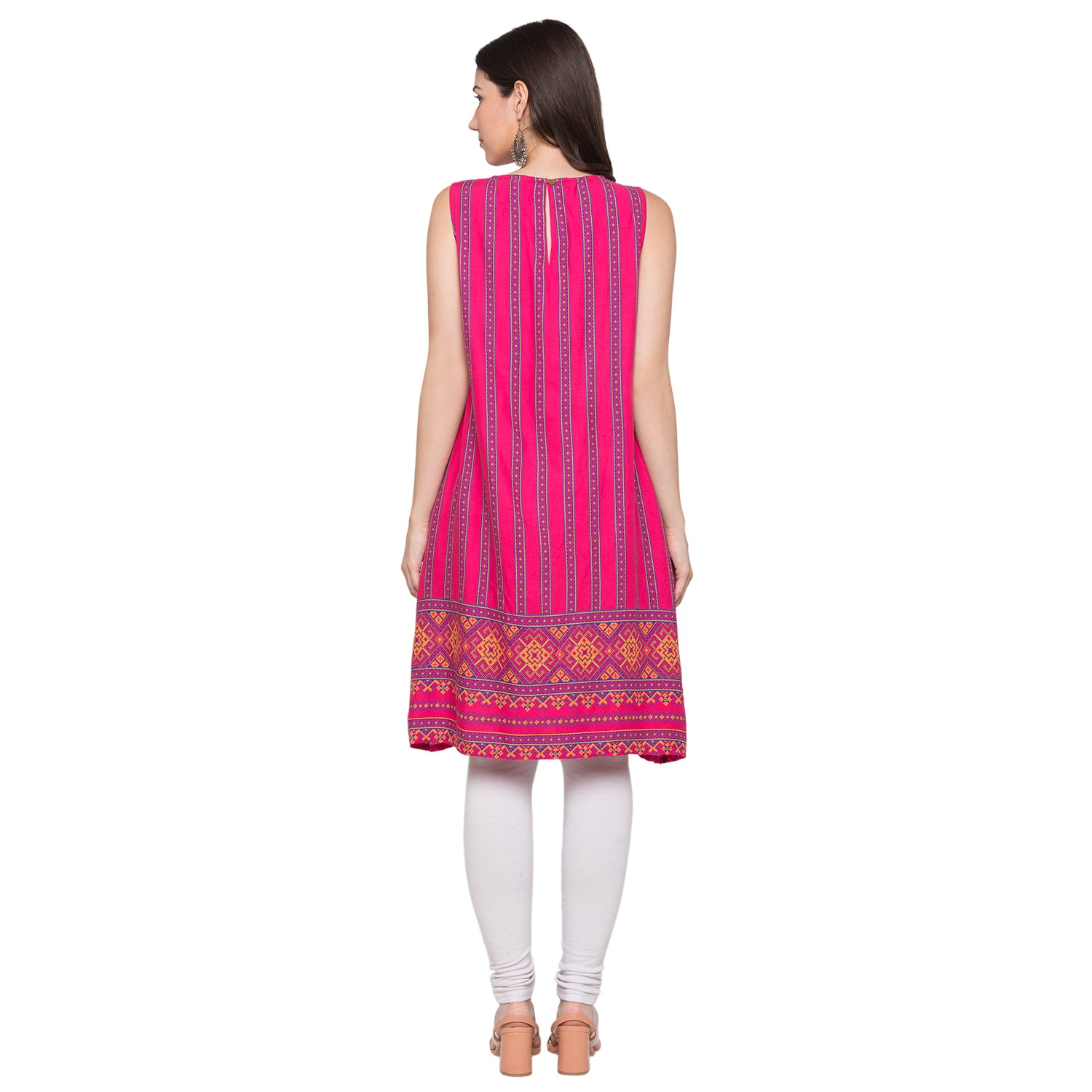 Globus Pink Striped Kurta-3