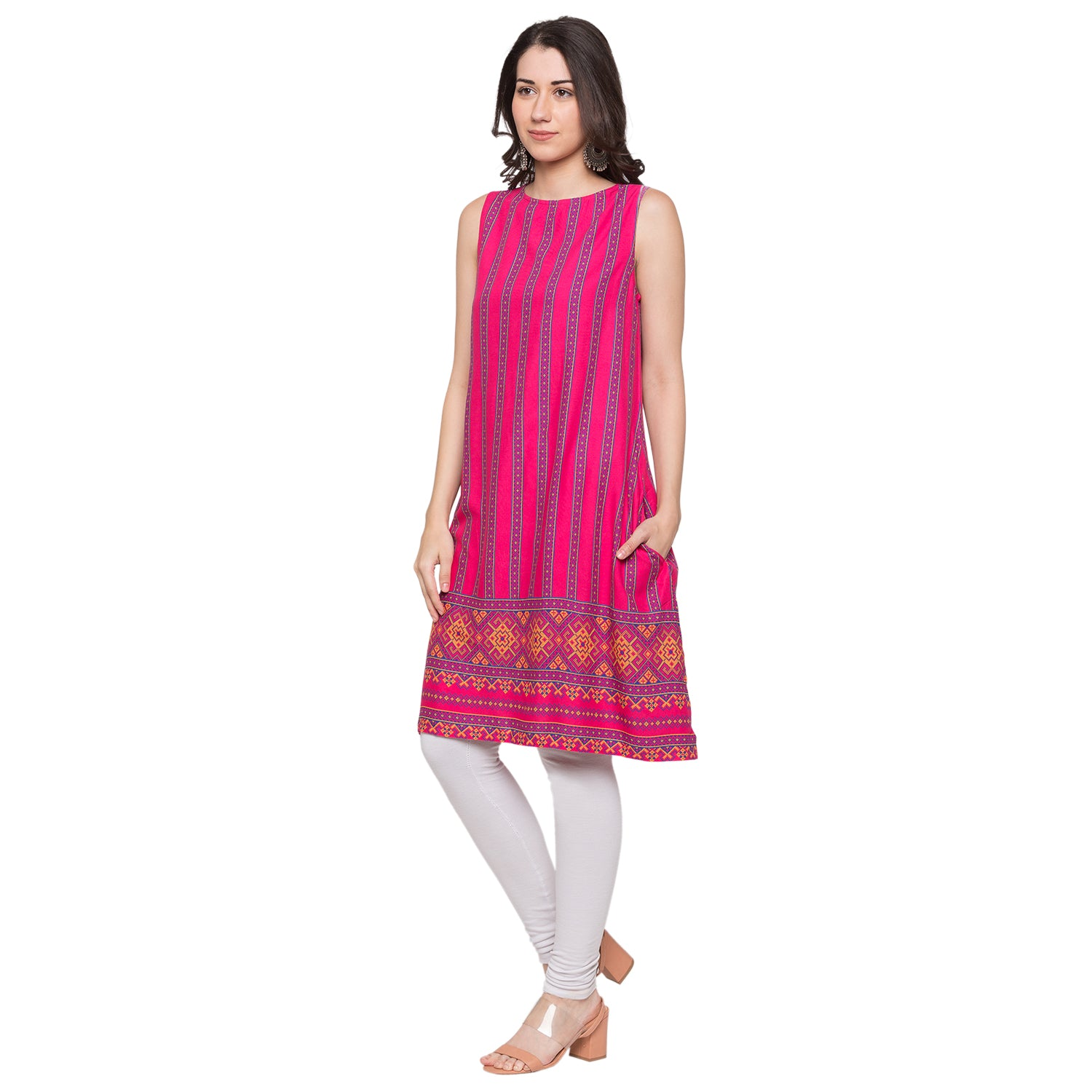 Globus Pink Striped Kurta-2