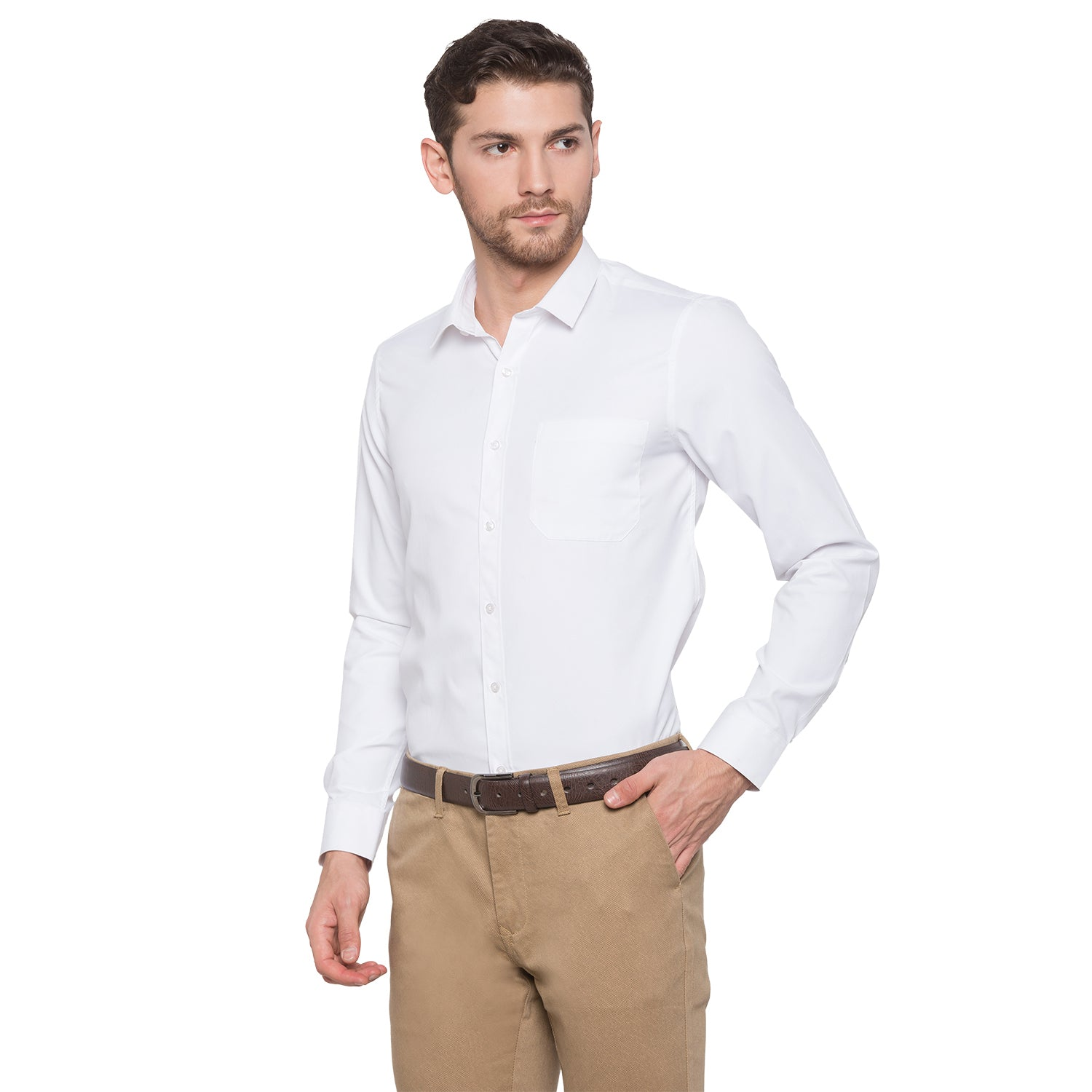 Globus White Solid Shirt2