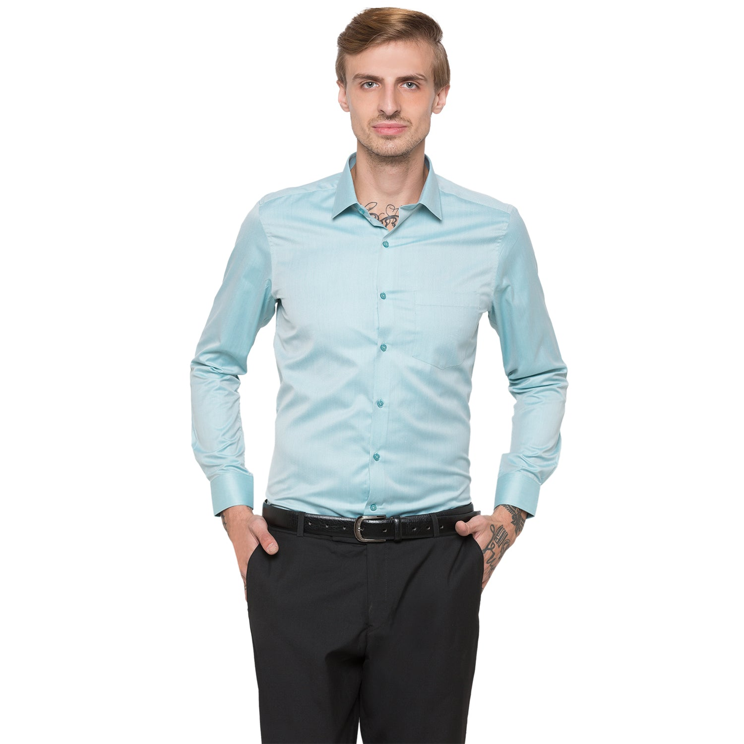 Globus Green Solid Shirt-1