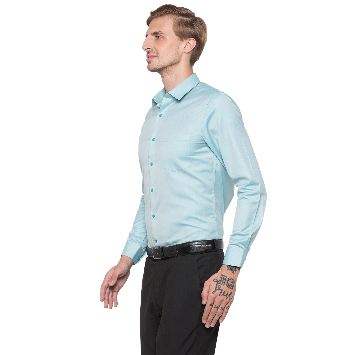 Globus Green Solid Shirt-2