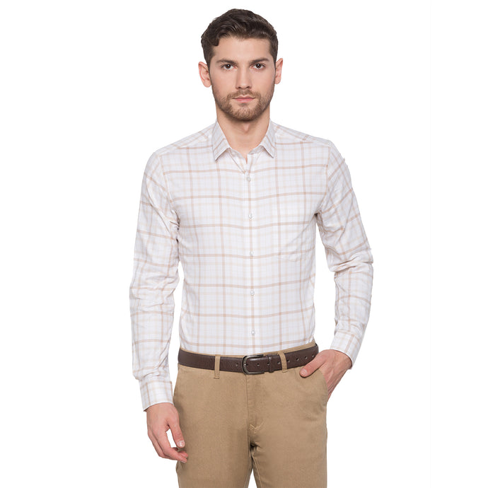Globus Beige Checked Shirt1