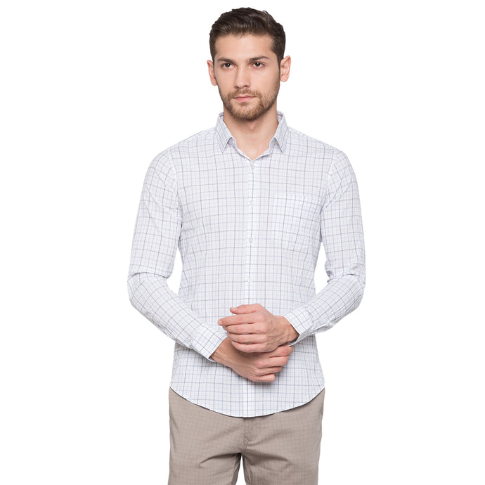 Globus White Checked Shirt1