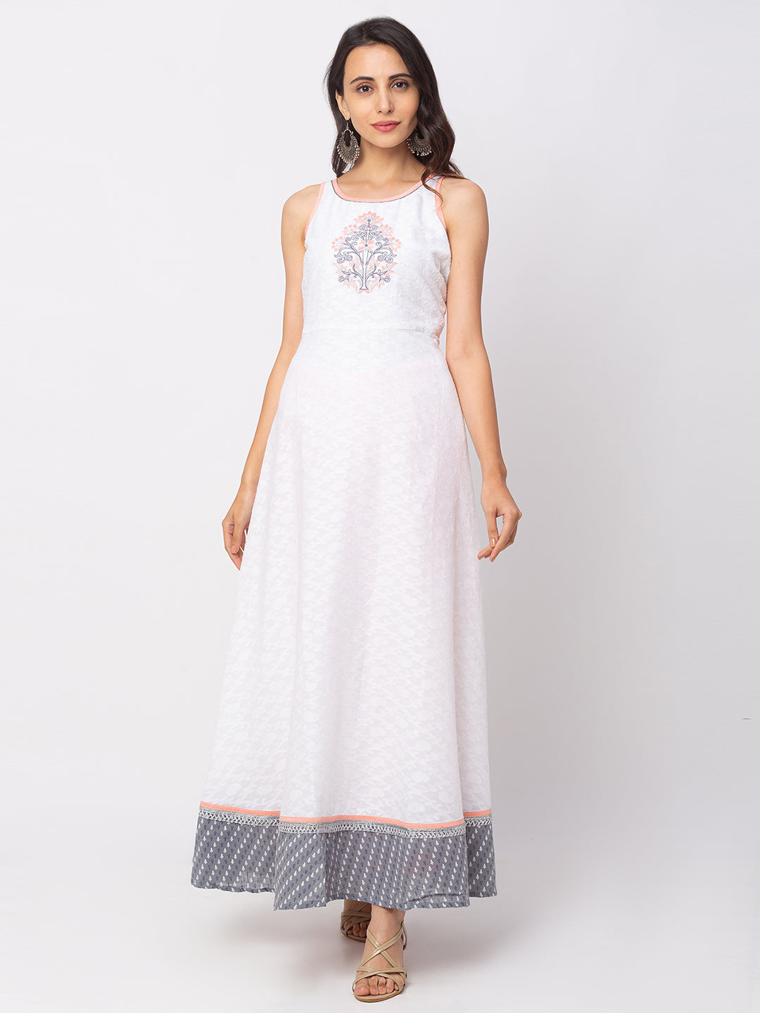 Globus White Printed Dress-1