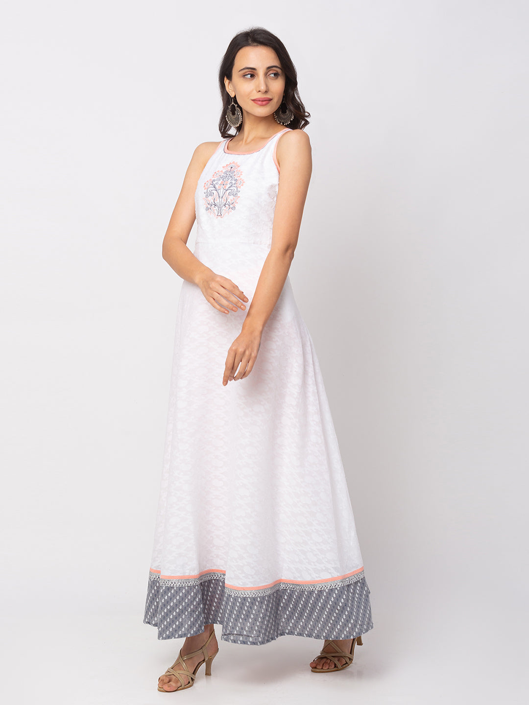 Globus White Printed Dress-4