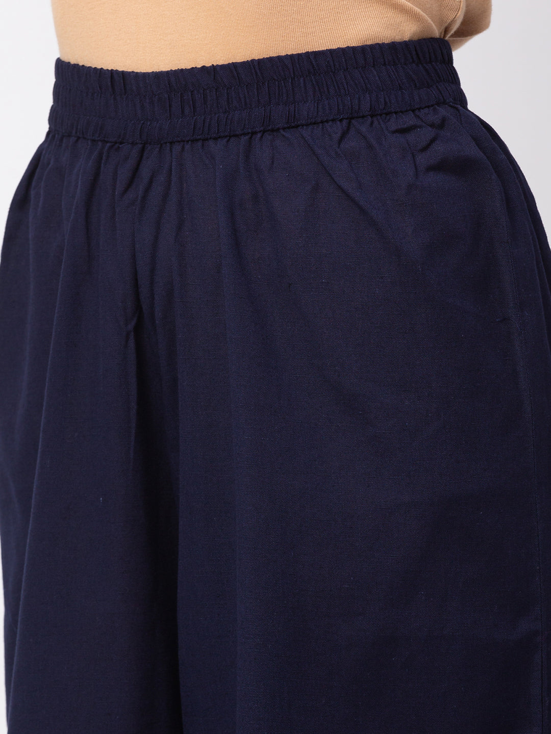 Globus Navy Solid Trousers-5
