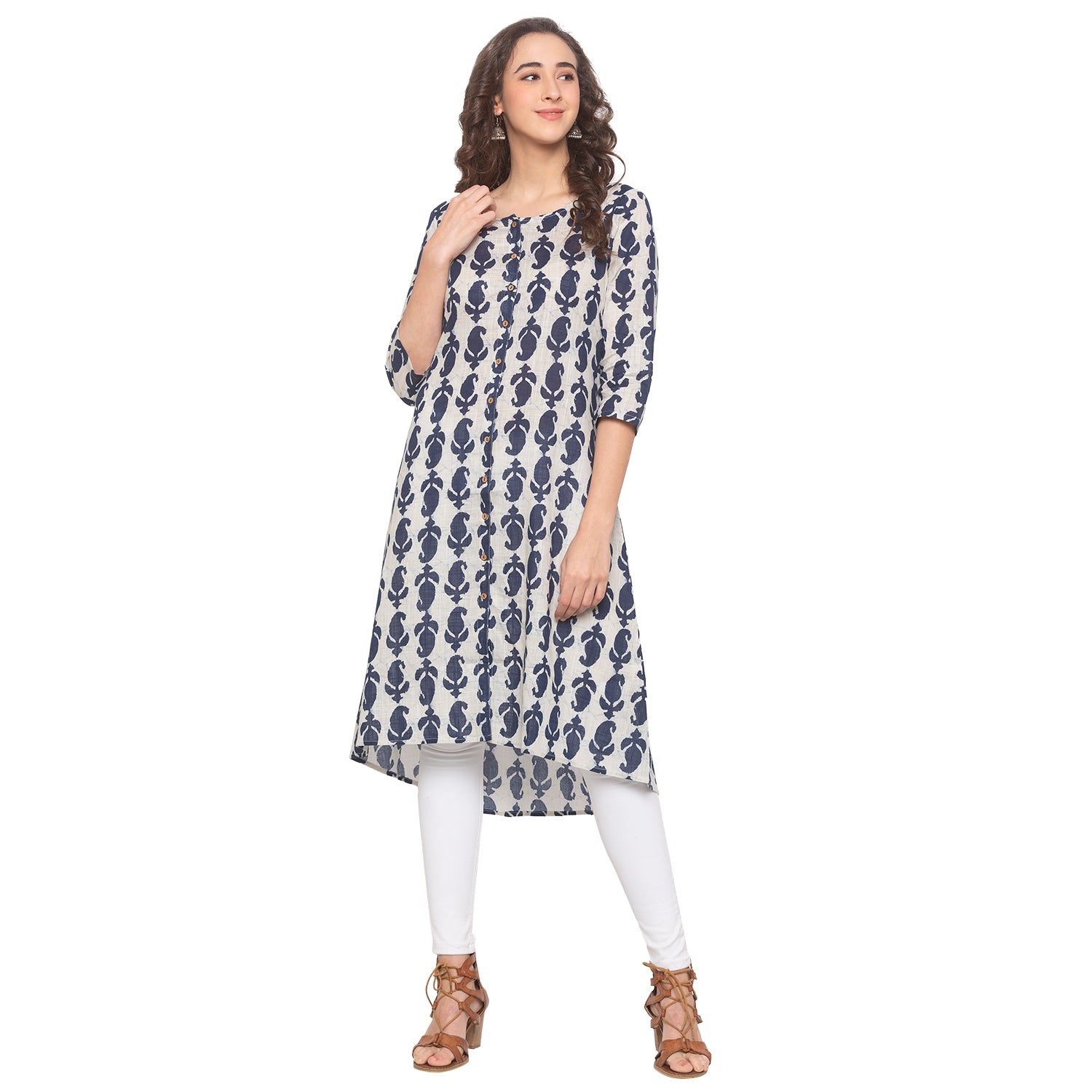 Blue Printed Kurta-1