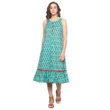 Load image into Gallery viewer, Teal Printed Dress-1