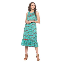 Load image into Gallery viewer, Teal Printed Dress-4