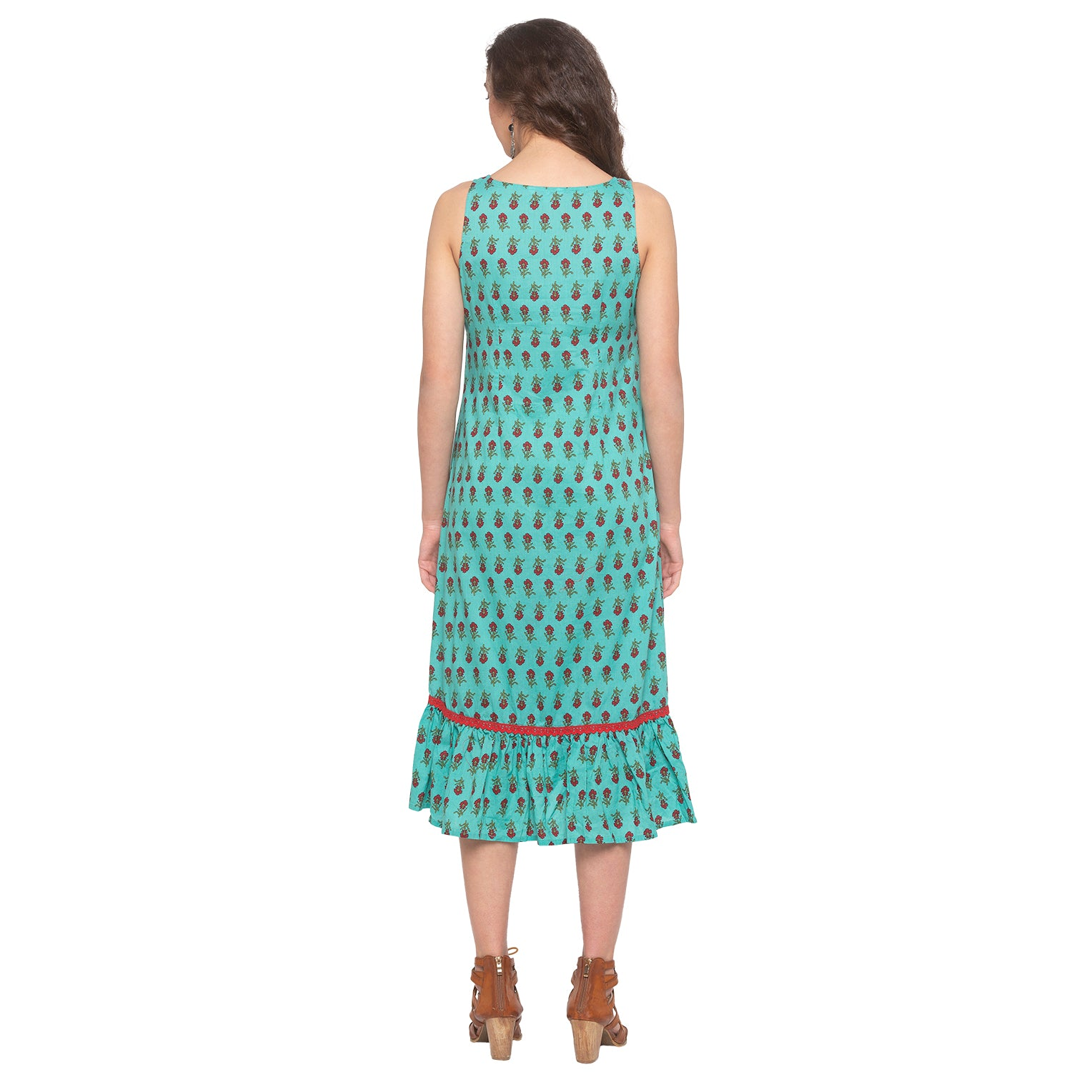 Teal Printed Dress-3