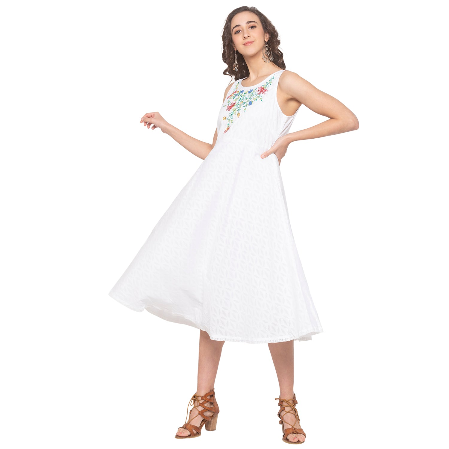 White Embroidered Dress-4