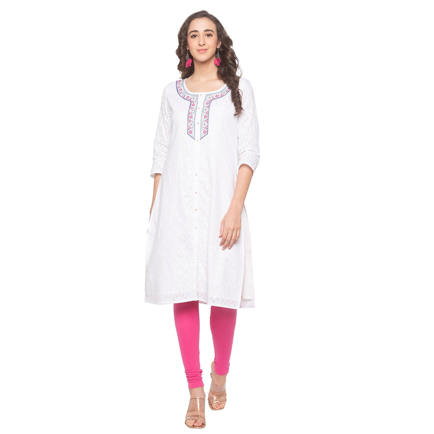 White Printed Kurta-1