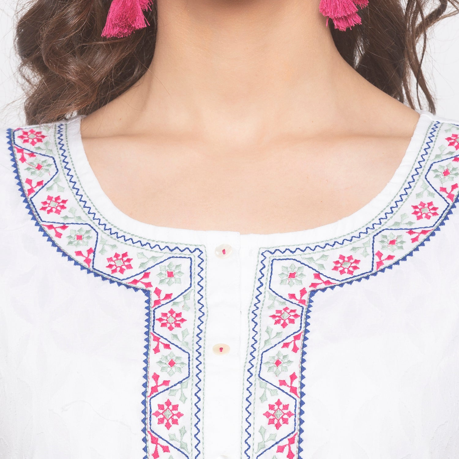 White Printed Kurta-5