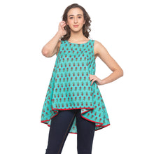 Load image into Gallery viewer, Teal Printed Top-1