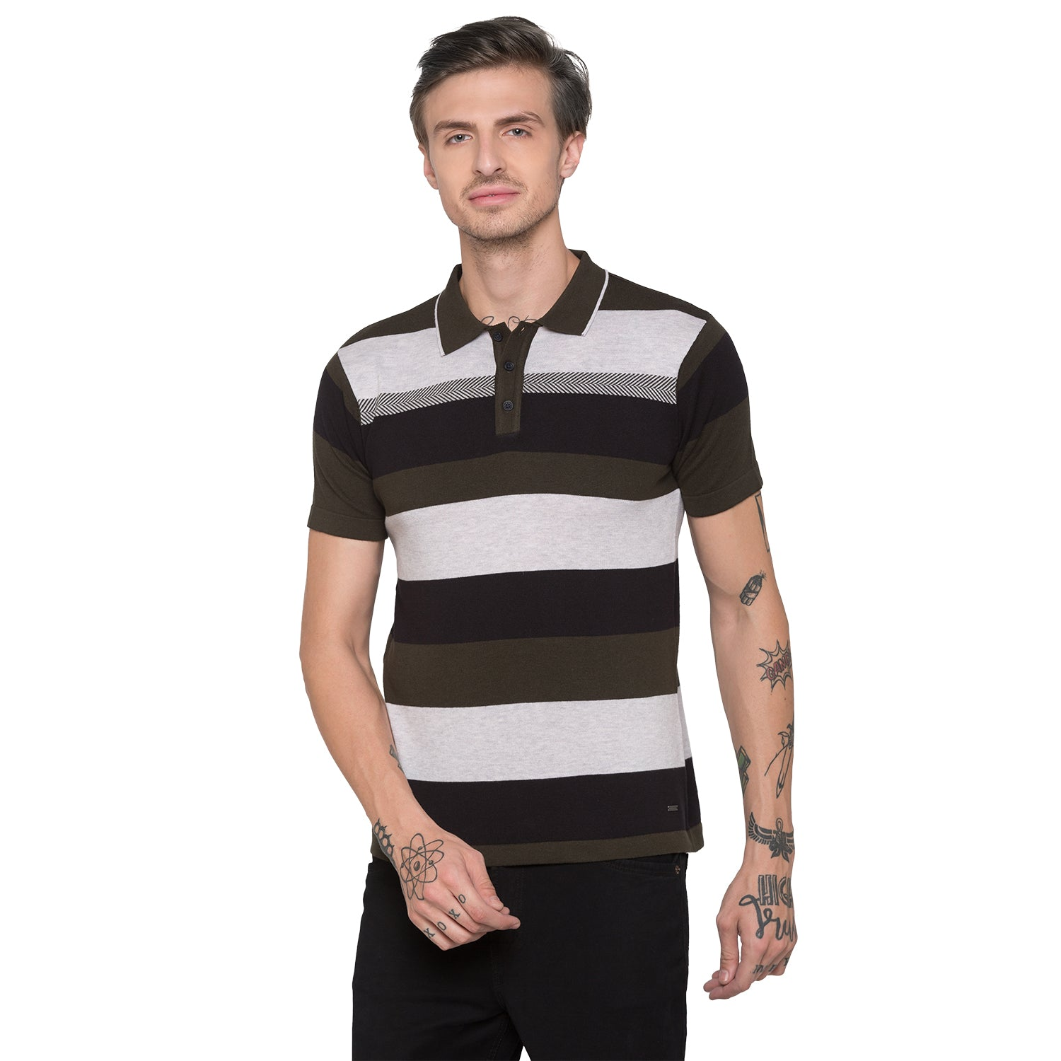 Globus Olive Striped Polo T-Shirt-1